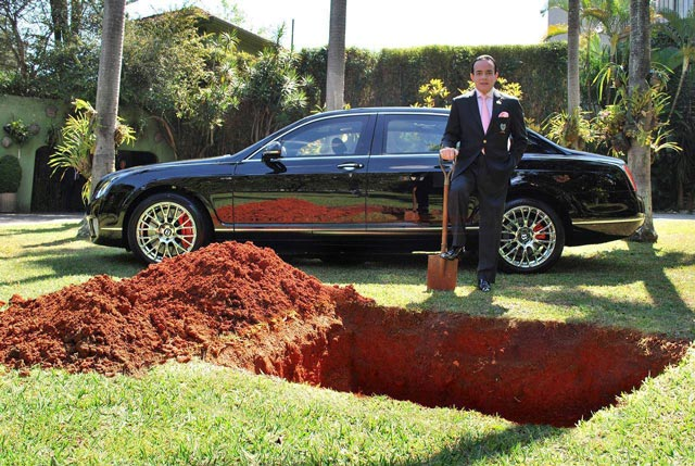 man-buries-his-bentley-car